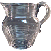 Clear Threaded Glass Pitcher with Applied Handle
