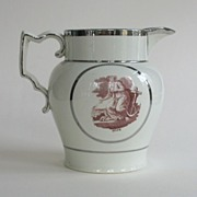 "Antique English Pearlware ""Hope and Charity"" Jug with Luster Trim"