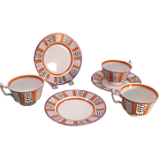 Three Wedgwood Art Deco Cups and Saucers ca. 1920