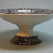 Large Ironstone Compote with Black Transfer ca. 1850