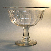 Large Blown and Cut Compote ca. 1840 - Red Tag Sale Item
