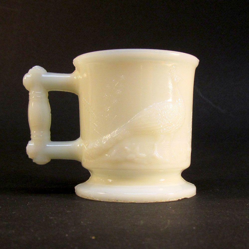 """1880's Milk Glass """"Peacock and Heron"""" Toy Mug"""