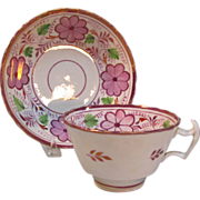 Pink Luster Cup and Saucer ca. 1830