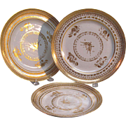 "Three Gilt ""Paris"" Porcelain Plates ca. 1820"
