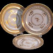 """Three Gilt """"Paris"""" Porcelain Plates ca. 1820"""