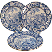 Four Blue Transfer Staffordshire Plates ca. 1825-30