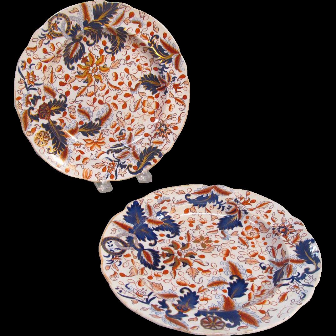 """Pair Copeland & Garrett """"Stone China"""" Plates ca. 1840"""