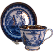 "Flow Blue Breakfast Cup Saucer ""Kremlin"" ca. 1845"