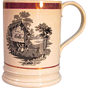 Tankard with Transfer and Pink Luster Trim ca. 1850