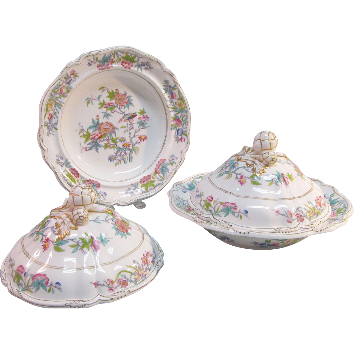 """Pair Minton """"Felspar Porcelain"""" Covered Dishes  ca 1840"""