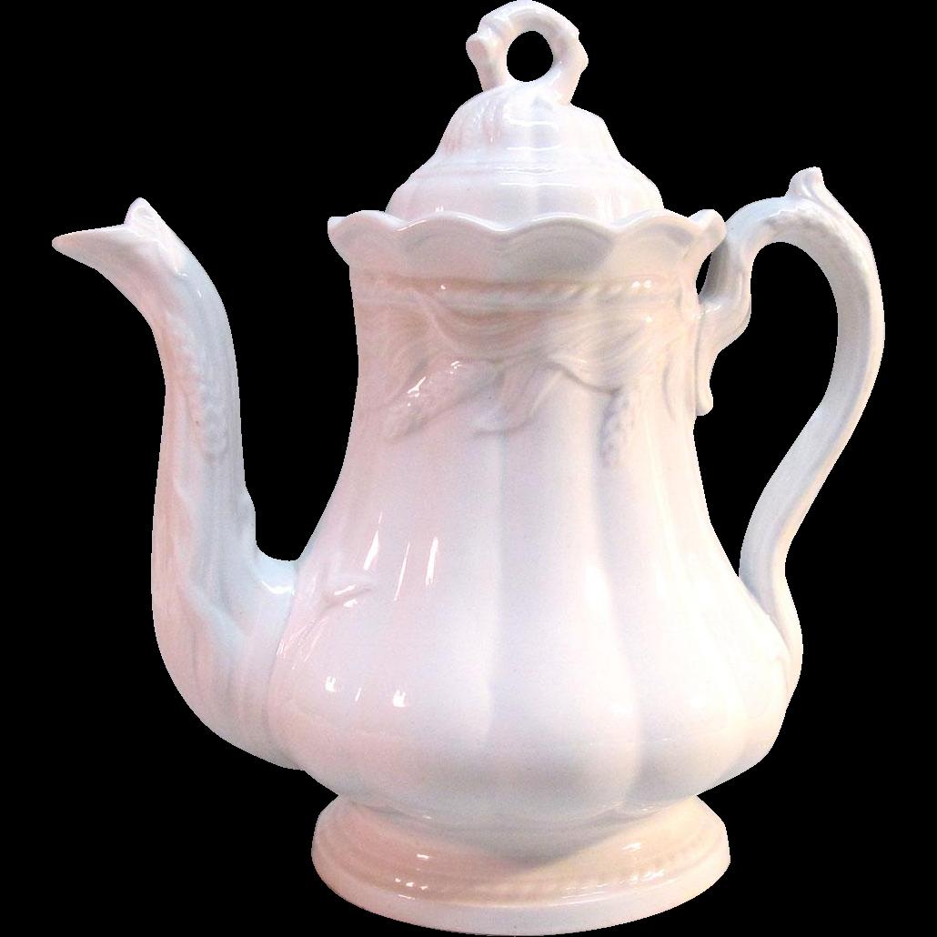 """White Ironstone """"Ceres"""" Tea Pot ca. 1865"""