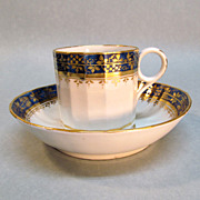 English Porcelain Coffee Can and Saucer ca. 1795