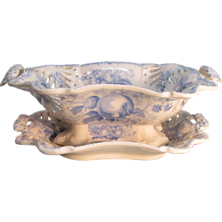 Staffordshire Blue Transfer  Openwork Dish and Tray ca. 1835