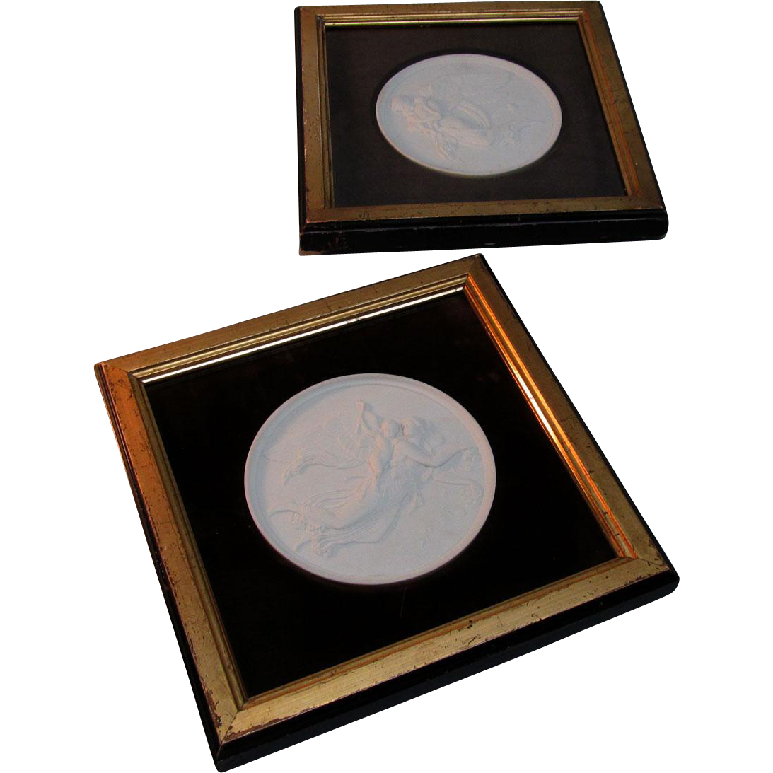 Pair Framed Victorian Porcelain Placques after Bertel Thorvaldsen