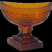 Anglo-Irish Style Amber Cut Glass Salt