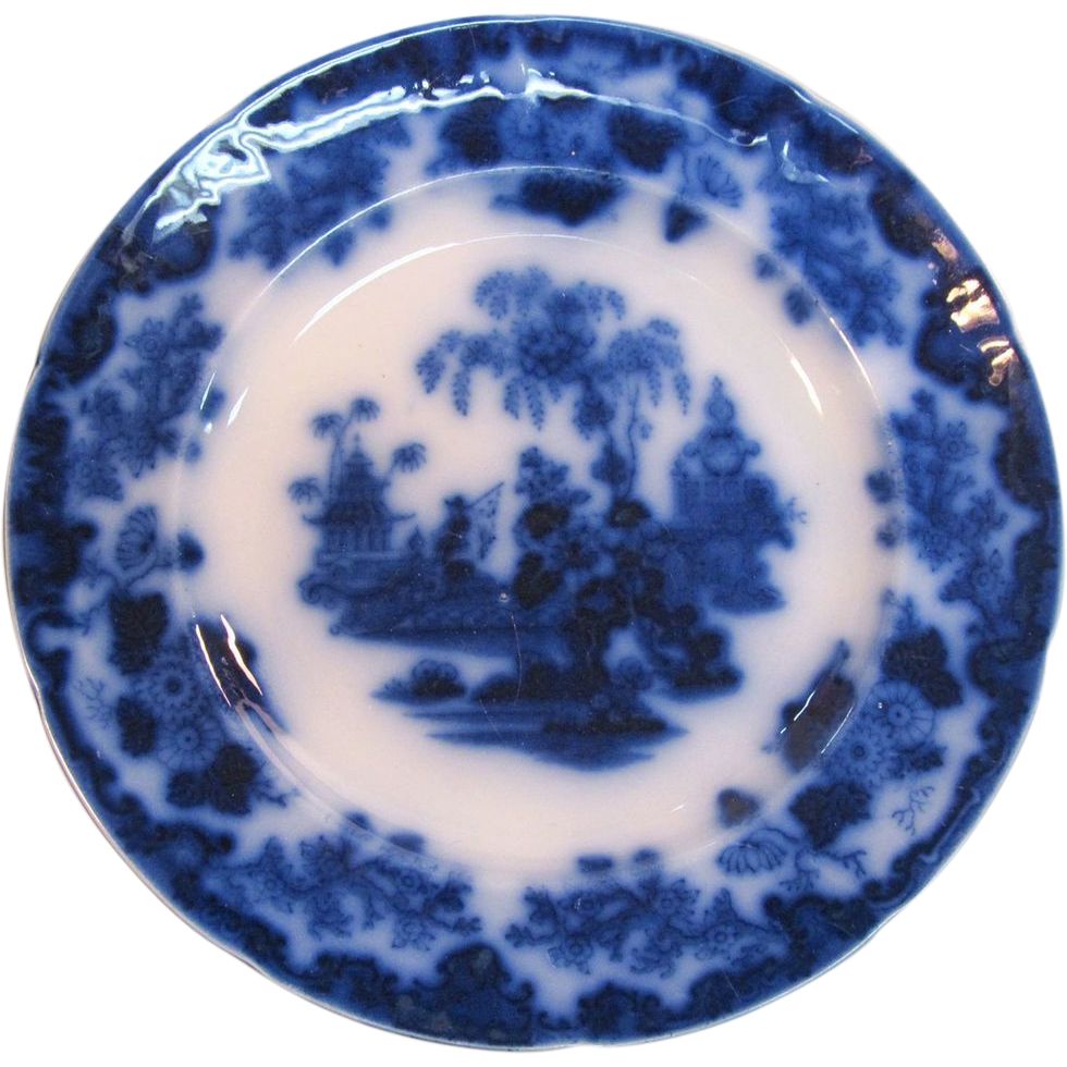 Scinde flow blue quot plate ca sold on ruby lane