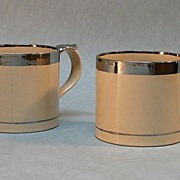 Pair  Silver Luster Trim Mugs ca. 1820-35