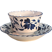 Pearlware Cup and Saucer with Blue Brush Stroke Decoration ca. 1810