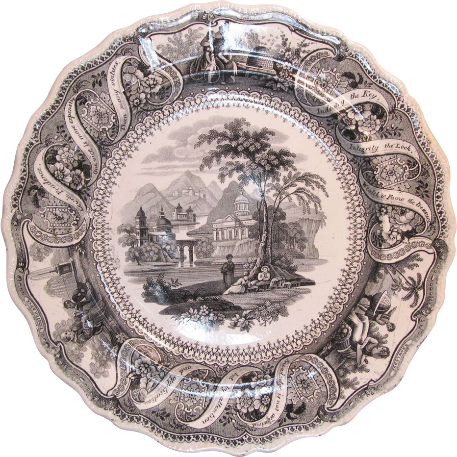 ... Maxims Furniture By Quot Moral Maxims Quot Transferware Plate Ca 1835  From ...
