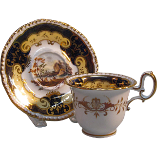 H & R Daniel Scenic View Coffee Cup and Saucer ca. 1830