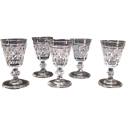 "Five Anglo/Irish Cut Glass Wines ""Strawberry Diamond"""