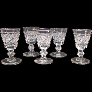 """Five Anglo/Irish Cut Glass Wines """"Strawberry Diamond"""""""