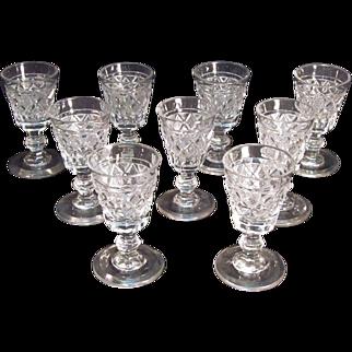 "Eight Anglo/Irish Cut Glass Cordials ""Strawberry Diamond"""