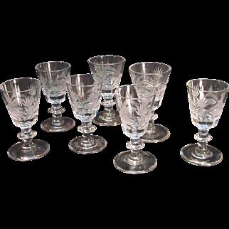 Six Anglo-Irish Cut Glass Wines