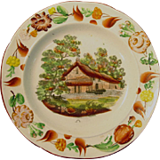 Earthenware Transfer and Floral Decorated Plate ca. 1825