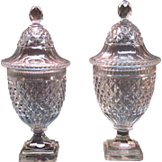 Pair Anglo-Irish Cut Glass Covered Urns
