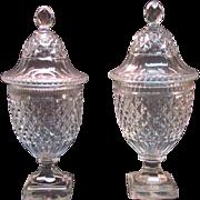 Pair Anglo-Irish Cut Glass Covered Urns