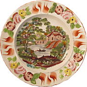 Earthenware Transfer and Painted Plate ca. 1825