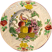 "Small Earthenware Decorated ""Fruit Basket"" Plate ca. 1825"