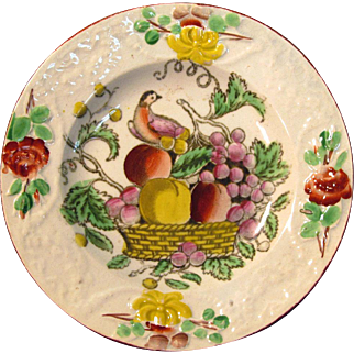 """Small Earthenware Decorated """"Fruit Basket"""" Plate ca. 1825"""