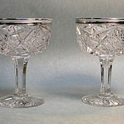 Pair American Brilliant Cut Glass Compotes with Sterling Rims
