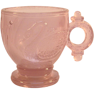 Victorian Lavender Glass Swan Pattern Child's Cup 1880's