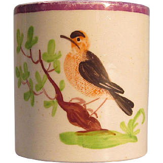 Child's or Toy Mug with Bird ca. 1825
