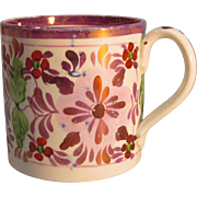 English Mug with Pink Luster and Floral ca. 1820