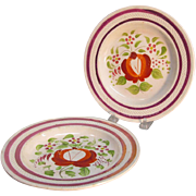 """Pair """"Rose"""" Plates with Luster ca. 1825"""