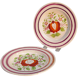 "Pair ""Rose"" Plates with Luster ca. 1825"