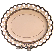 Creamware Lattice Edge Tray with Silver Luster ca. 1810