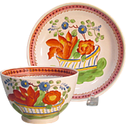 "Pearlware ""Flower Basket"" Cup and Saucer ca. 1820"