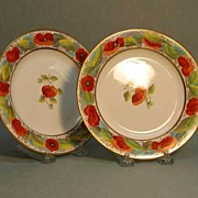 Pair Nineteenth Century Porcelain Plates with Poppy Decoration