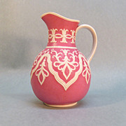 English Two-Color Stoneware Pitcher ca. 1865