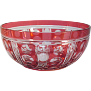 Cranberry Overlay Bowl