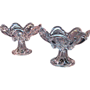Pair Sandwich Loop Flint Glass Compotes with Gauffered Rims ca. 1850-70