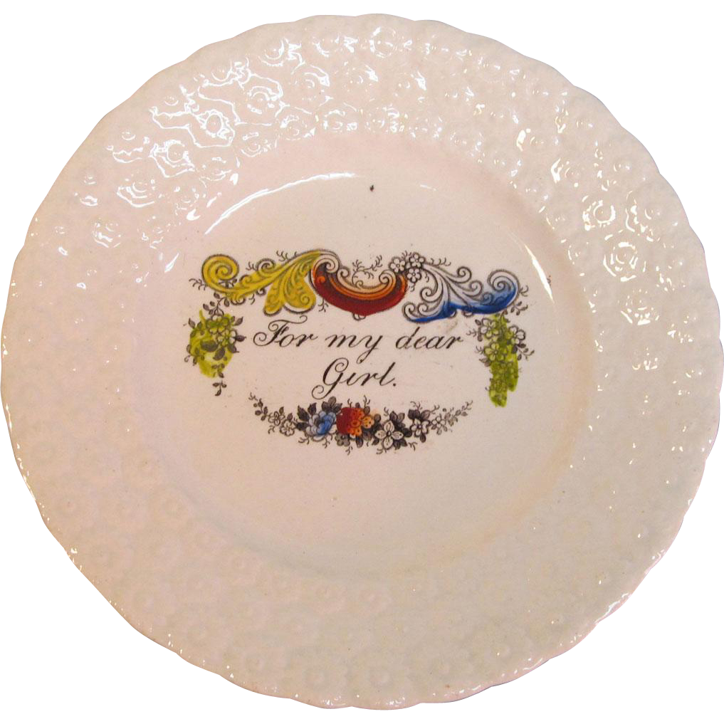 "Staffordshire Child's Plate ""For My Dear Girl"""