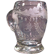Early Blown and Engraved Glass Mug