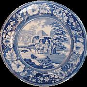 "Staffordshire Blue Transfer 10"" Plate ca. 1835"