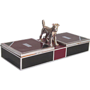 Art Deco Cigarette Box with Figural Terrier
